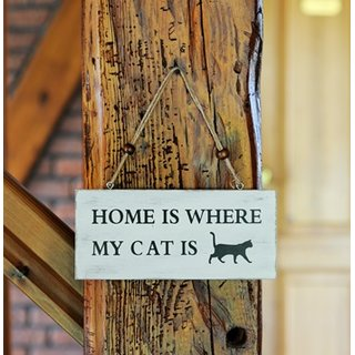 Holzschild Pferd Home is where my cat is